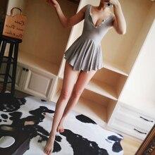 Cute Plunge V neck Pleated Mini Dress Sexy Women Vintage Party Skater Dress Chic Sleeveless Summer Dress цена