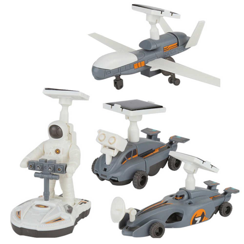 4 in 1 FAI DA TE Solare Power Educational corredi di Costruzione di Modello Giocattolo Astronave di Esplorazione Lunare Della Flotta Trasformazione Robot giocattoli per i bambini
