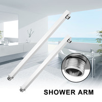 Xueqin 300/380mm Solid Chrome Shower Head Arm Holder Wall Mounted Rectangular Connect For Rain Shower Head Bathroom Shower Pipe