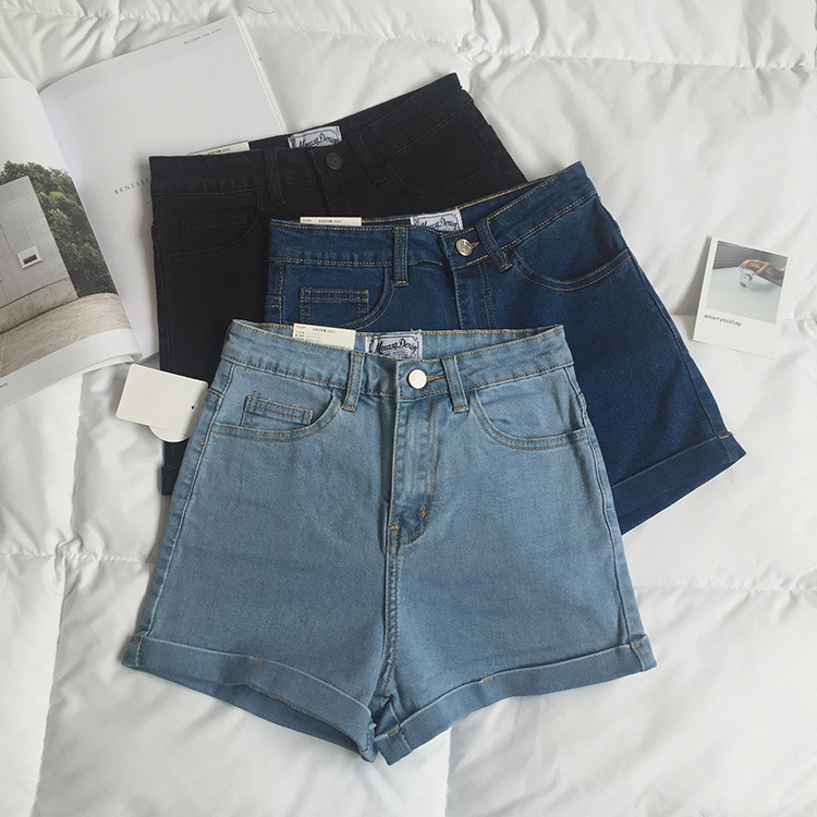 2019 Summer Denim   Shorts   High Waist Cowboy Hot   Shorts   Woman Elastic Force Tight Bottom Solid Color Sexy Streetwear