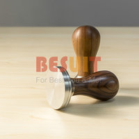 304 Stainless Steel Base Chacate Preto Wood Handle Tamper Coffee Powder Hammer 53/54/57/58mm Customized Coffee Tools Accessories