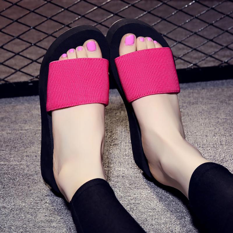 09d2943010835b 2018 Summer Woman Shoes Platform bath slippers Wedge Beach Flip Flops High  Heel Slippers For Women Brand Black Eva Ladies Shoes