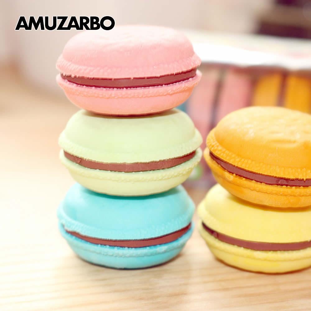 1 Pcs Novelty Macaron Rubber Eraser Creative Kawaii Stationery School Supplies Gift For Kids Fresh Color