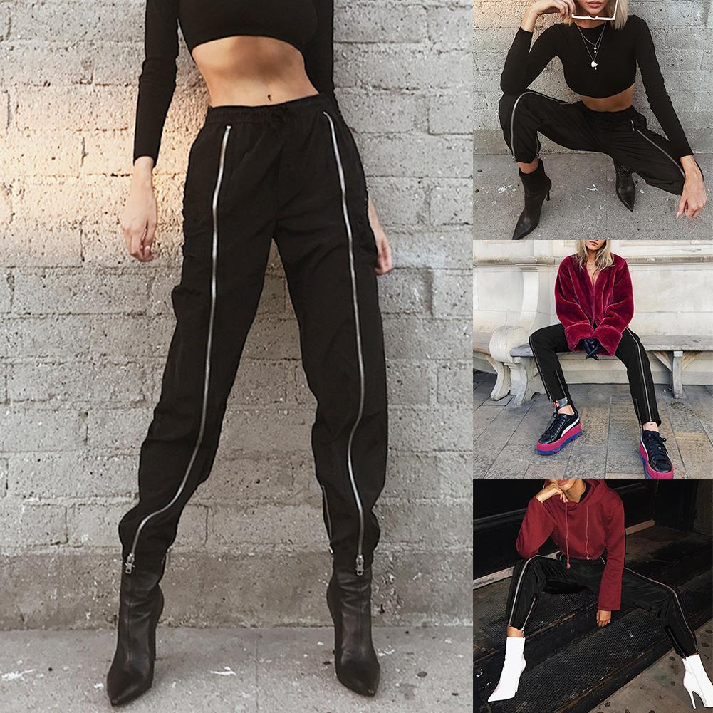 Hip Hop Women Weekeep Black Double Zipper Elastic High Waist Pockets Patchwork Lady Long Pants Streetwear Trousers Pencil Pants