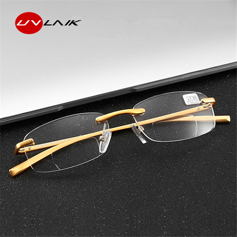 0fa3e2587ea Detail Feedback Questions about UVLAIK Bifocal Reading Glasses Men Women  Rimless Aluminum magnesium Frame Clear HD Lens Presbyopic Eyeglasses with  Diopter ...