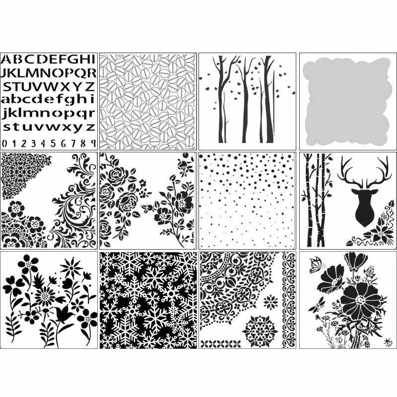 Scrapbooking Stamping Wall Painting Masking Spray Pre Drawing Ruler 12 Styles Embossing Album Decor Hollow Layering Stencils