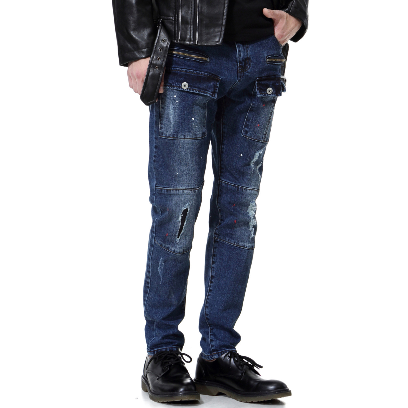 Brand Aowofs Men's Direct Sales 2019 New Men's Hole Jeans High-End Boutique Hair Washed Cotton Multi-Pocket Casual Trousers