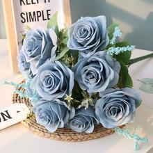 Sztuczne niebieskie różowe kwiaty jedwabny bukiet róż sztuczne kwiaty dekoracja do przydomowego ogrodu ślubne róże sztuczne kwiaty tanie tanio Green Aloes F2019037 Róża Bukiet kwiatów Ślub Jedwabiu 45 cm 9 cm 1 pcs Chrismas Home Hotel Party Office Room Garde