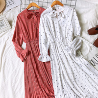 c7559756ffa11e 2019 Spring Women Long Sleeves Polka Dots Long Dress Vintage Dots Pattern  Bow Knot Collar Pleated