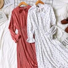 fa9c6dcfff 2019 wiosna kobiety długie rękawy Polka Dots długa sukienka w stylu Vintage  kropki wzór łuk węzeł
