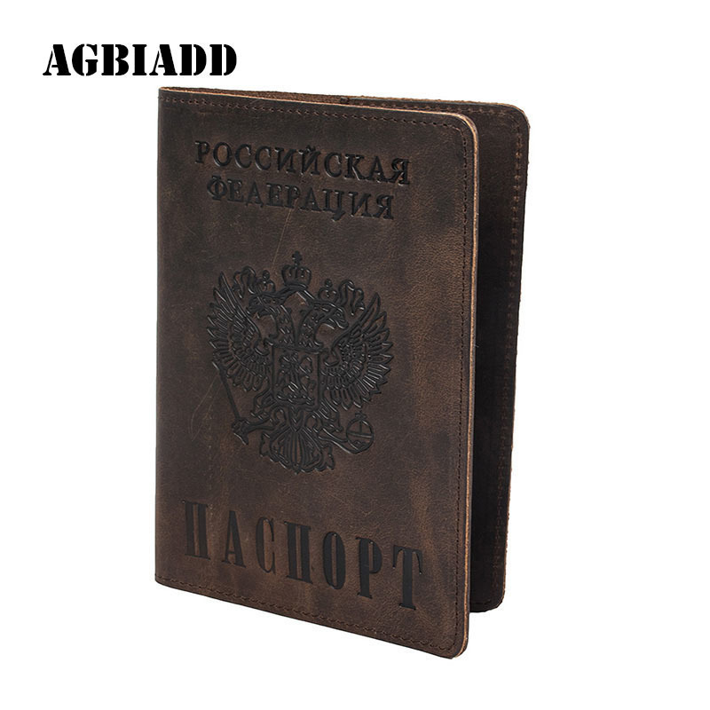 AGBIADD Vintage Natural Crazy Horse Leather Russian Emblem logo Passport Cover Drop Ship A594 Men Genuine Leather Passport Case