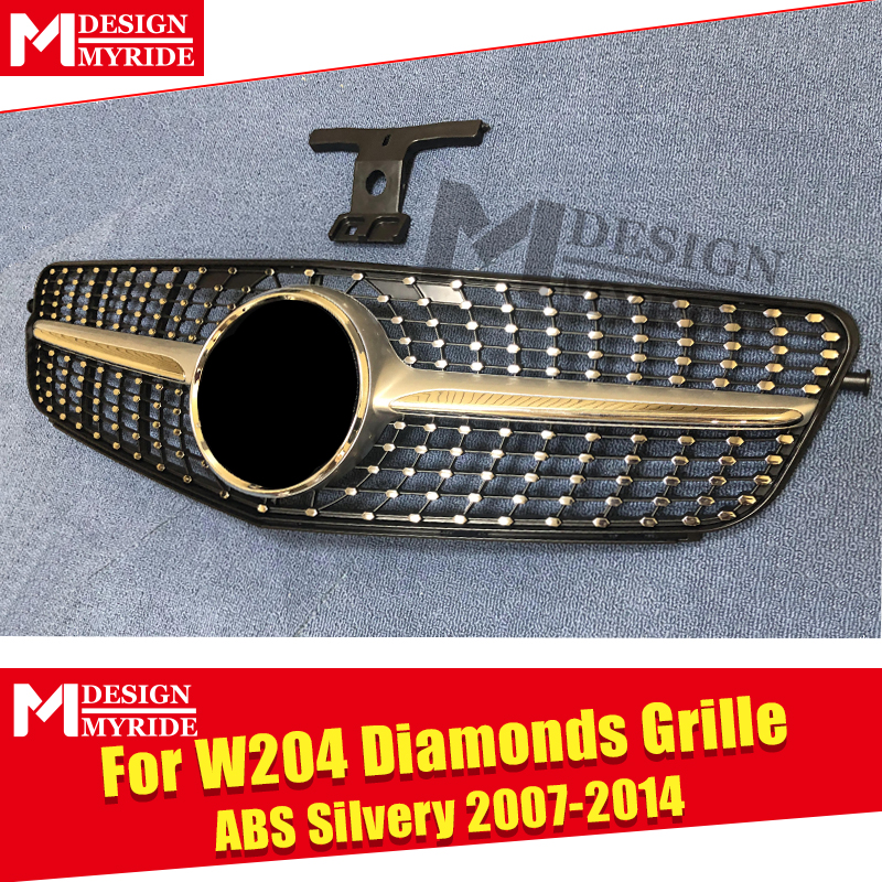 W204 C Class Sport grille grill Diamonds ABS silver With borders C180 C200 C250 C63 look Front Grills 07 14 Not For C63AMG 07 14 in Racing Grills from Automobiles Motorcycles