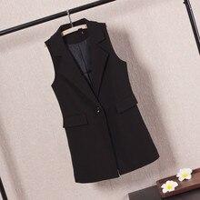 2019 Spring Autumn Women Black Vest Office Lady Waistcoat Casual Single Button Sleeveless Jacket Coat