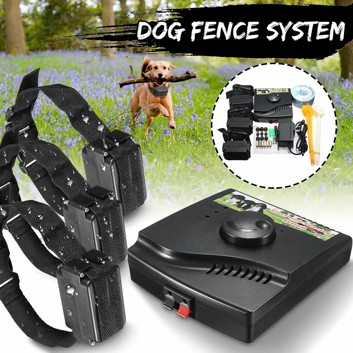 Safety Pet Dog Electric Fence With Waterproof Dog Electronic Training Collar Electric Dog Fence Containment System CatSafety Pet Dog Electric Fence With Waterproof Dog Electronic Training Collar Electric Dog Fence Containment System Cat