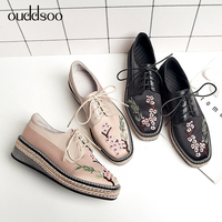 Ouddsoo 2019 British Ladies Riband Derby Shoes Genuine Leather Womens Embroidery Woman Flat Platform Brogue Shoes Ladies Casual