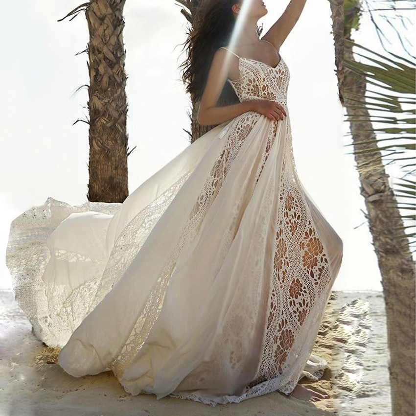 SQING robes d'été 2019 robe femmes évider col en v broderie Spaghetti sangle robes robes longue fête Sexy robe