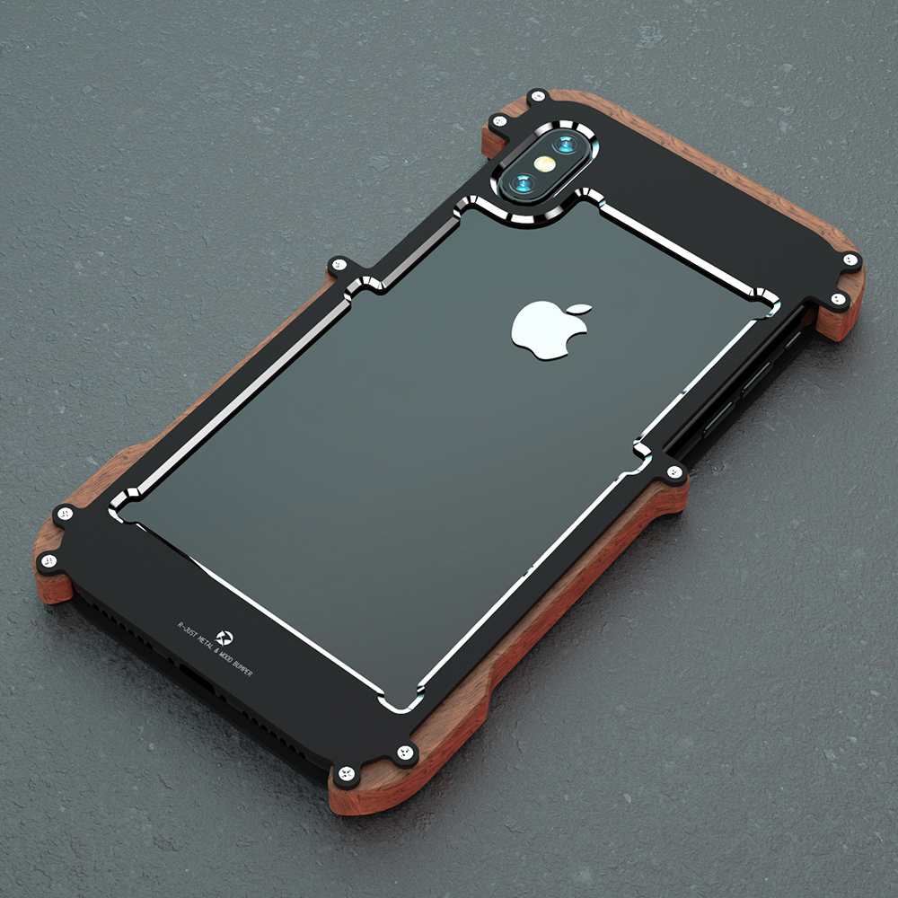Newest Brand Shockproof Armor Wood Grain Aluminum Metal Bumper Frame Case Cover For iphone XR Shell Wood Frame R just