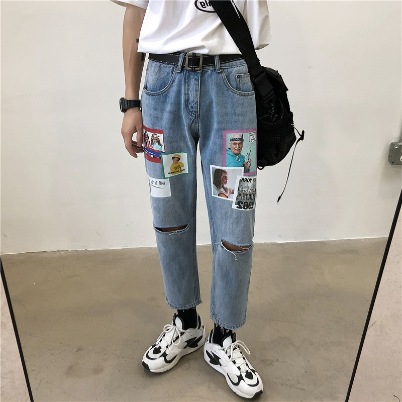 2019 Spring And Summer New Fashion Trend Korean Version Of The Couple Casual Hole Printing Nine Points Sports Jeans Hip Hop Best