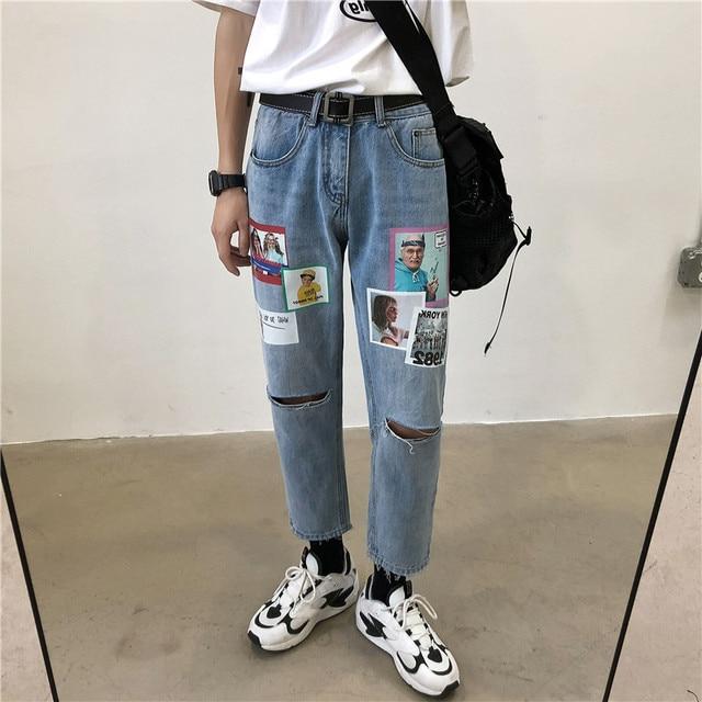 Pantalones vaqueros deportivos de nueve puntos, Primavera y novedad de verano, versión coreana de la pareja, informales, estampados, Hip Hop, 2019