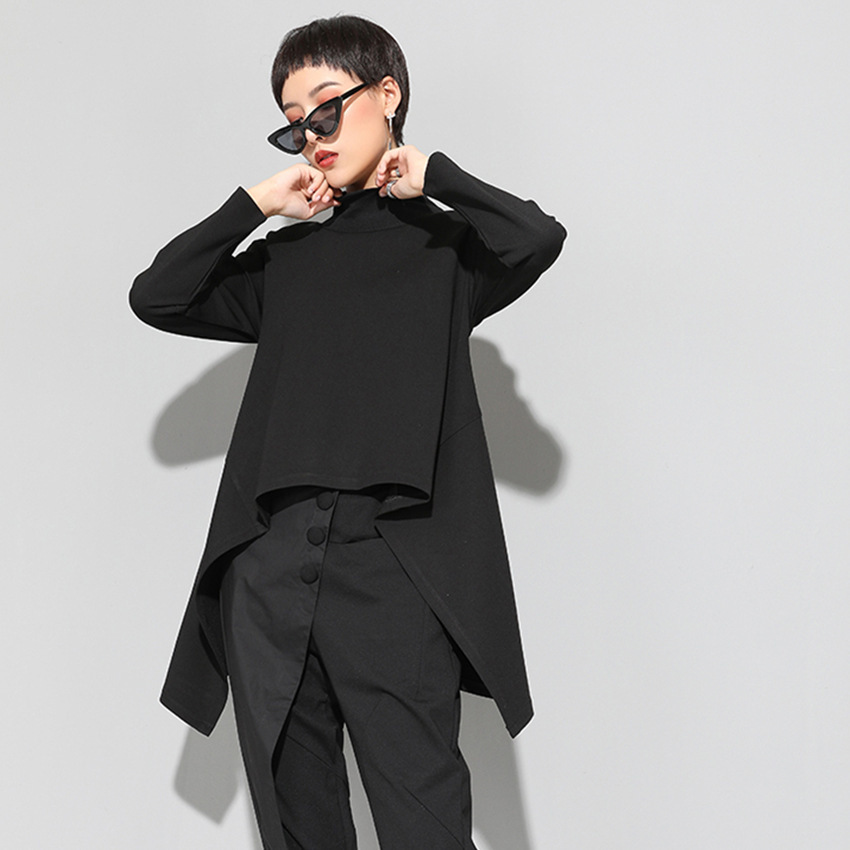 LANMREM 2019 Neue Mode Stehen Kragen Unregelmäßigen Saum Schwarz Sweatshirt frauen Langarm Persönlichkeit Hoodies Vestido YF19501
