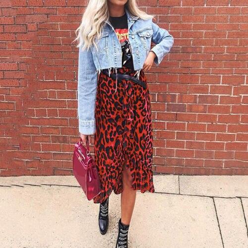 Women Leopard Print High Waist Skirts Leopard Ladies Casual Clubwear Party Skirt