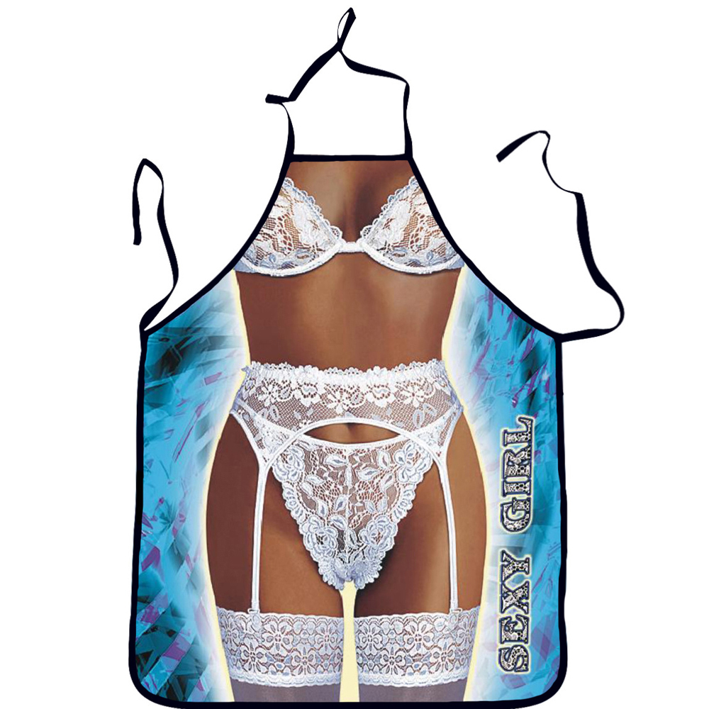 Купить с кэшбэком Funny Cooking Apron Sexy Kitchen Dinner Party Baking Aprons For Woman And Man delantales BBQ Party Cartoon Apron Birthday Gifts