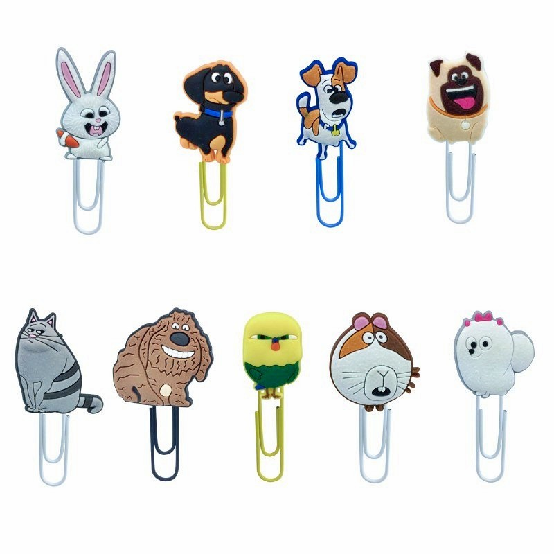 8pcs/lot The Secret Life of Pets Cartoon Bookmarks Designs DIY Cute PVC Paper Clips Stationery in School/Office Kid Gift8pcs/lot The Secret Life of Pets Cartoon Bookmarks Designs DIY Cute PVC Paper Clips Stationery in School/Office Kid Gift
