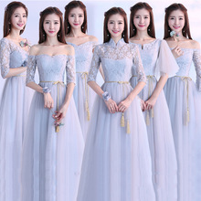 elegant Bridesmaid party Dresses Sexy lace Bow Sashes Lace-up Fluffy Floor-length Chiffon Dress Party Gowns