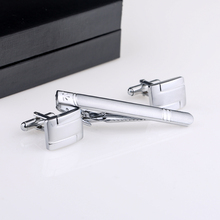 Free shipping New Fashion Men Sliver Metal Necktie Tie Bar Clasp Clip Cufflinks Sets Simple Cuff links And Studs Gift CT-1002