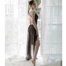 New Sexy Underwear Ultra Slim Sleepwear For Women Nightdress Lingerie Temptation Thin Backless Lace Pyjamas