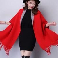 Fashion Women Poncho Batwing Sleeve Loose Cardigans Casual Tassel Solid Double sided Knitted Shawl