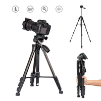 Camera Tripod, Hizek 57 inch Aluminum Lightweight Traverl Tripods Camera Video 180 degree Tilt Range lock 2018 Carry Bag