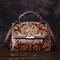 AEQUEEN Women Genuine Leather Handbag Embossed Luxury Bags Vintage Cowhide Leather Top Handle Bag Messenger Shoulder Tote Purse