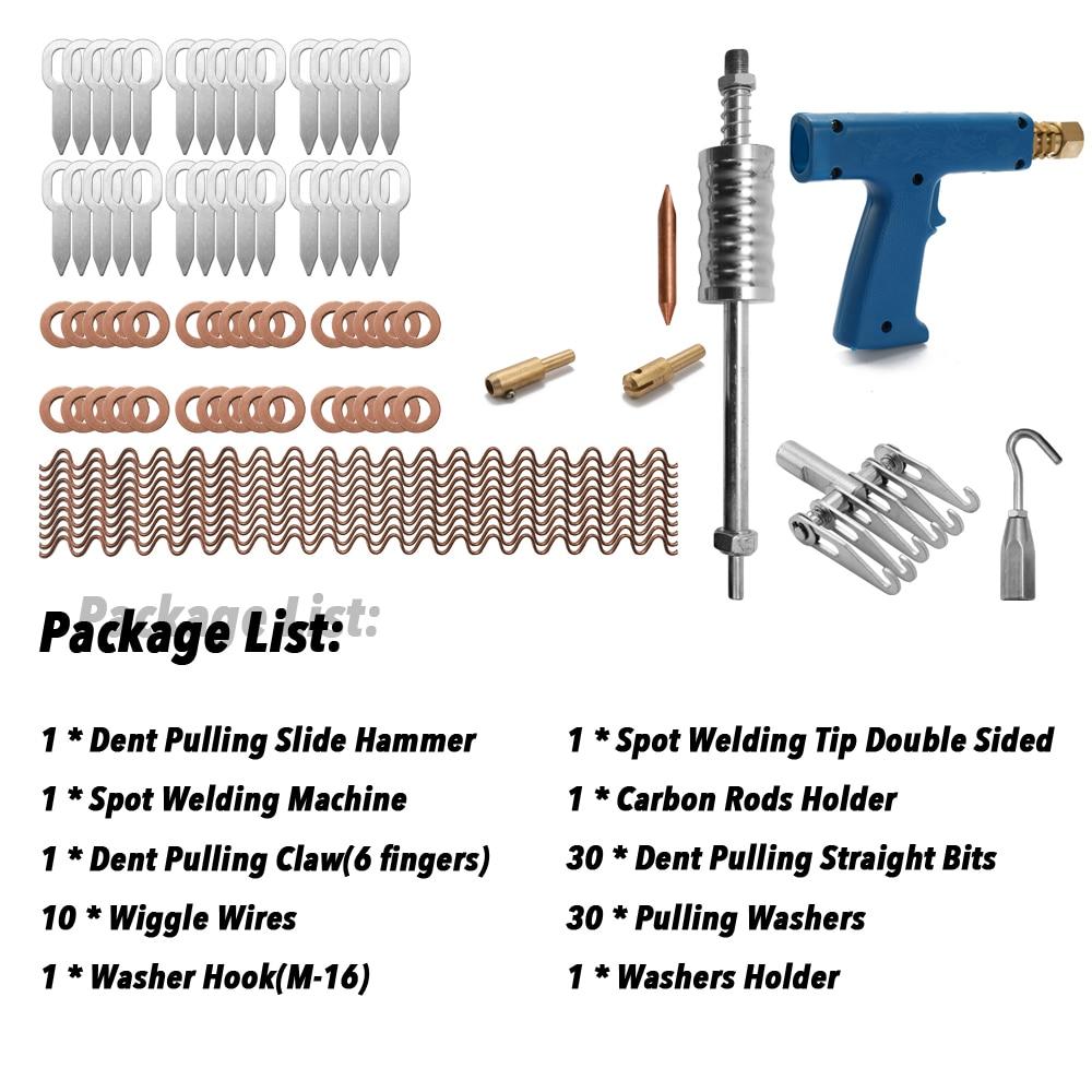 77 pièces Kit d'extracteur de réparation de Dent outils de voiture pistolets de tache de corps de main Mini Machine de soudure système automatique Spotter fixer la pince enlèvement de marteau