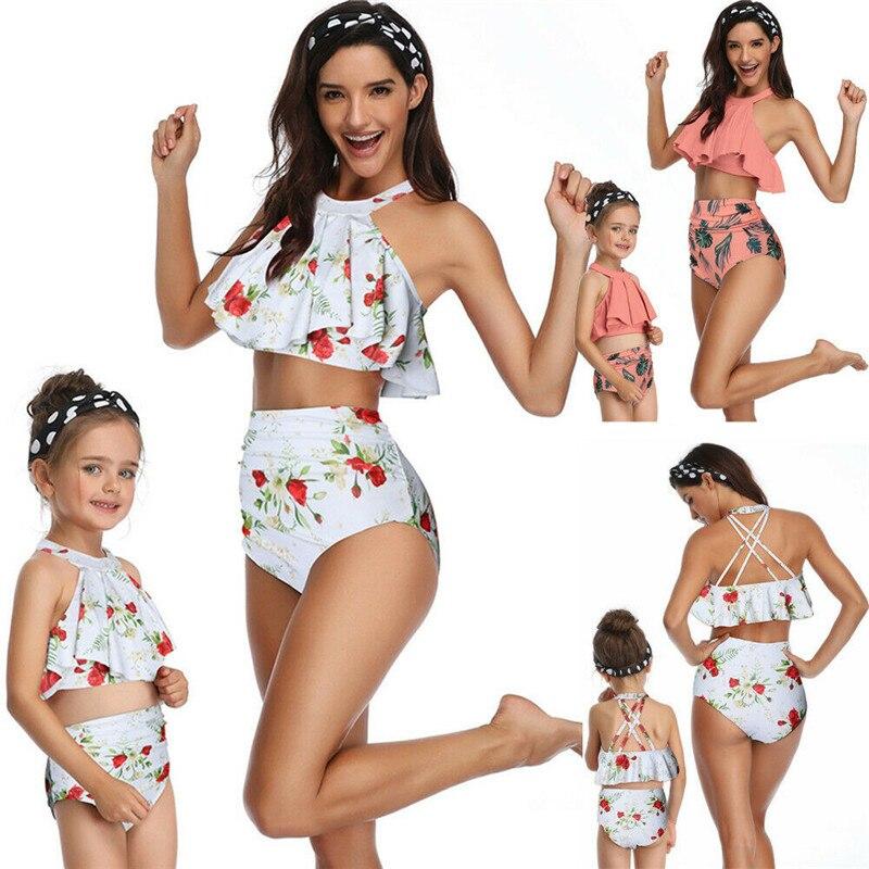 Fashion Casual Slim Print Mother Daughter Family Matching Ruffle High Waist Bikini Swimsuit Kids Swimwear Clothes