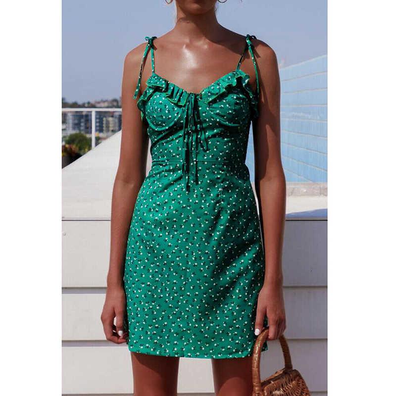 Женское летнее мини-платье с цветочным рисунком, без рукавов, Бандажное, сексуальное, элегантное, для девушек, вечерние, пляжные платья, сарафан, vestidos, модная новинка 2019