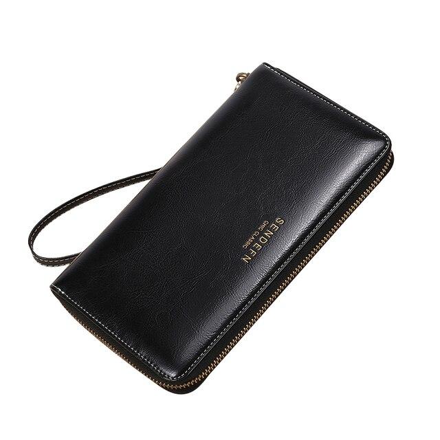 Sendefn marca las mujeres damas cartera monedero de lujo de largo carteras maciza mujer de moda de cuero de embrague, bolso de la cremallera 7 Plus 5054H-6