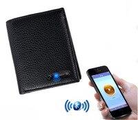 LKX Man Men Genuine Leather Smart Bluetooth Wallet Rfid Defence Against Money Bag Mens Ladies Luxury Purses Coin Purse