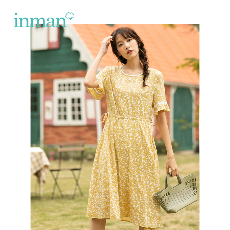 INMAN Summer New Arrival Lace O-neck Literary Floral Short Petal Sleeve Women Dress