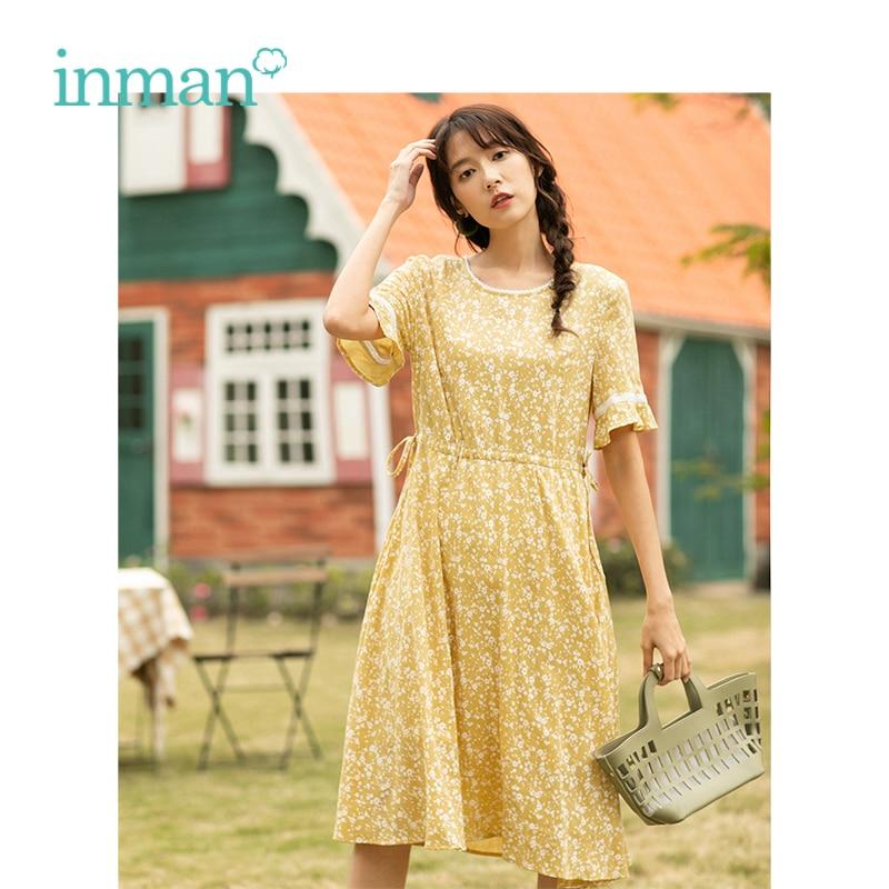 INMAN Summer New Arrival Lace O-neck Literary Floral Short Petal Sleeve Women Dress