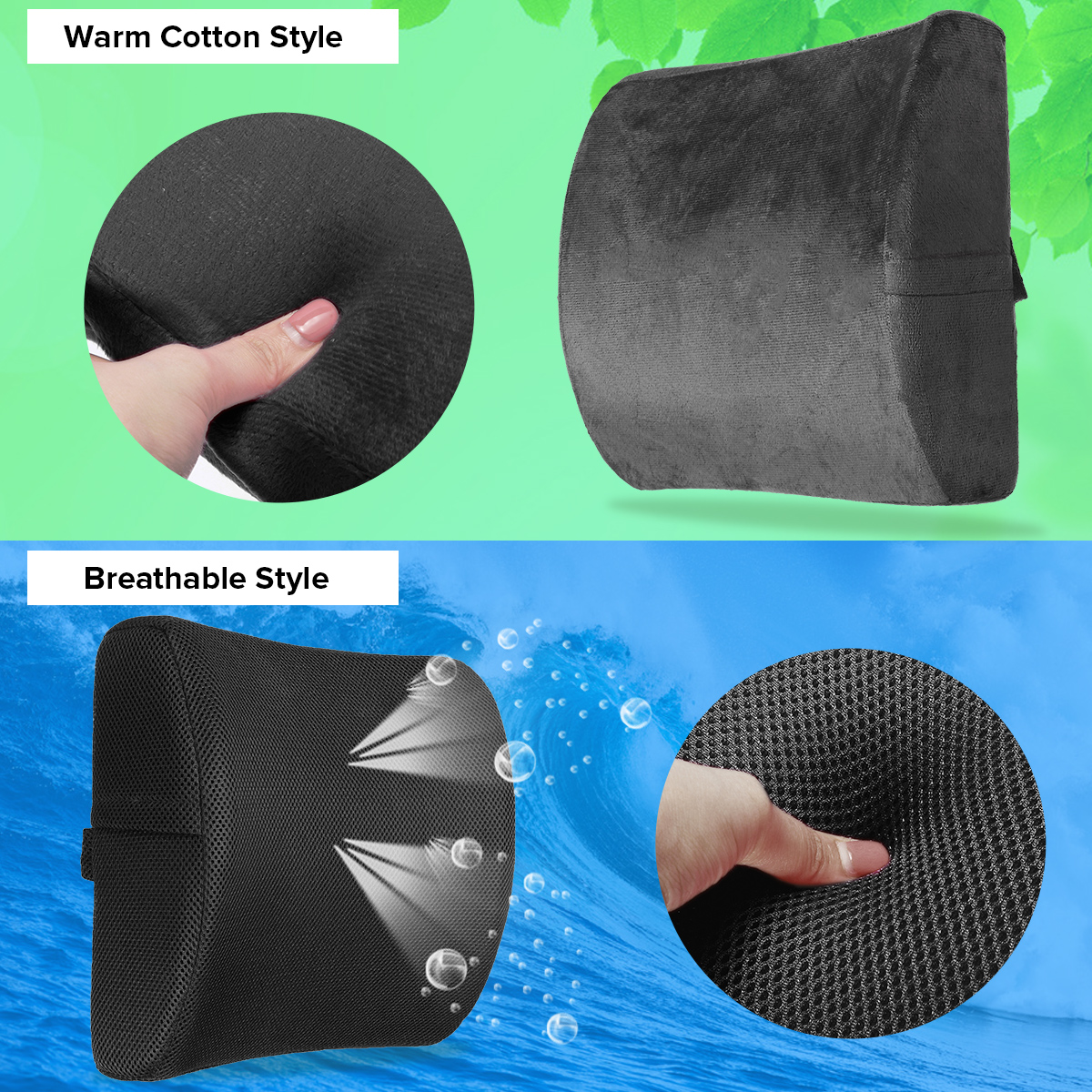 6 Color Lumbar Pillows Made Of Soft Foam For Car Seat To Support And Relieve Back Pain 3