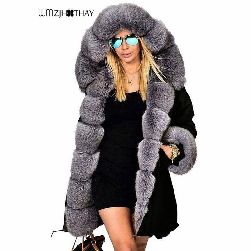 2019 New Fashion Winter Jacket Women Warm Cotton Fleece Coat Female Long Hooded   Parkas   Imitation Raccoon Fur Collar Outerwear