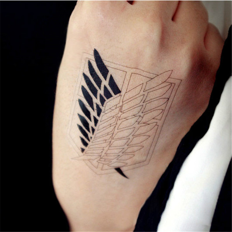 Attack On Titan Wings Of Liberty Cosplay Props Waterproof Animation Cartoon Logo Temporary Tattoo Stickers XR062