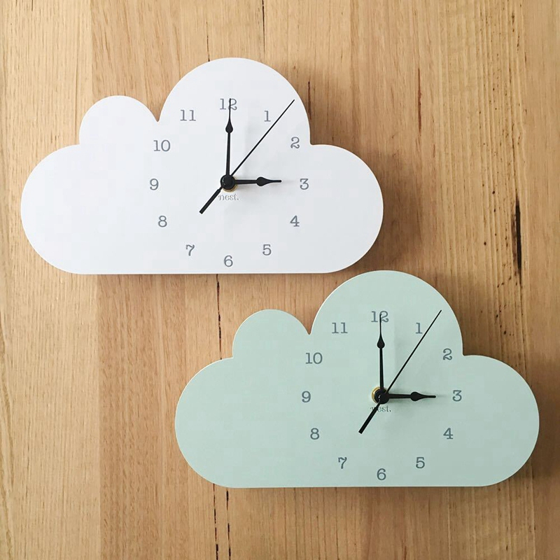 Nordic Wood Cloud Raindrop Shaped Clock Children'S Room Decoration Baby Cute Wall Sticker Wall Clock Basswood