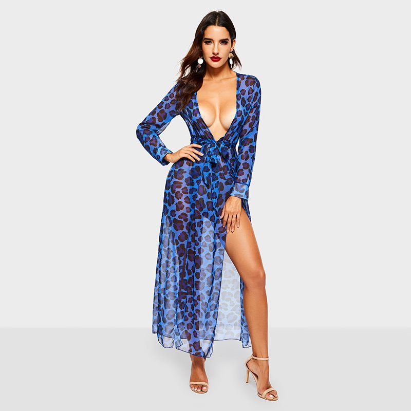 Women's Clothing New Arrival Women Sexy V-neck Leopard Printed Ruffled Hem Flare Sleeve Party Wrap Mini Dress Vestidos Mujer 2018 Traveling