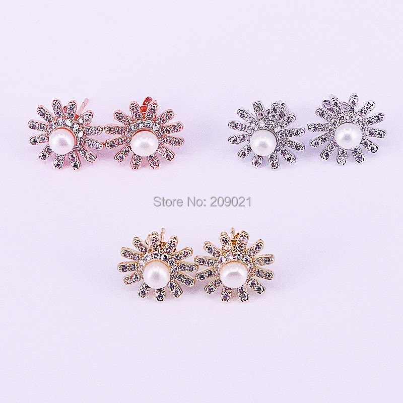 8Pairs Fashion Flower shape Cubic Zirconia Pearl Stud Earrings Charm Jewelry for Women