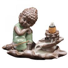 Small Buddha Ceramic Backflow Incense Burner Lotus Flower Smoke Waterfall Holder Crafts Decorative