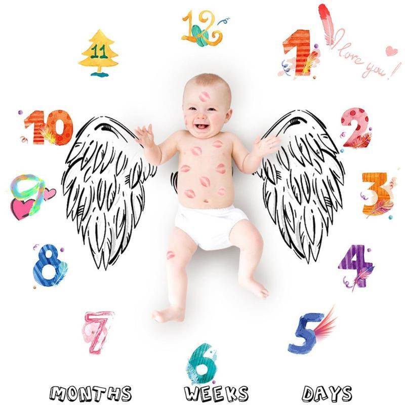 Photography Photo Blanket Children Photo Blanket Cute Digital Clock Props Newborn Fashion Cute Wing Digital Print Soft Blanket