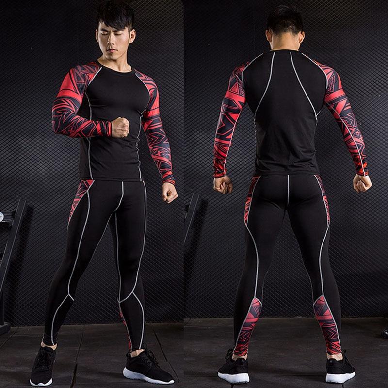 Men's Long Johns Winter Thermal Underwear Set  Sport Base Layer Thermal Compression Tights Underwear Fitness Training Sportwear