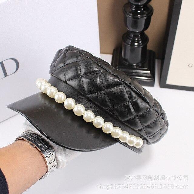 Chapéu de couro feminino, chapéu de couro de pérola tipo boina casual